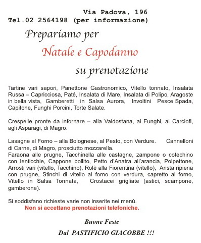 Pastificio Giacobbe menu di Natale 2018
