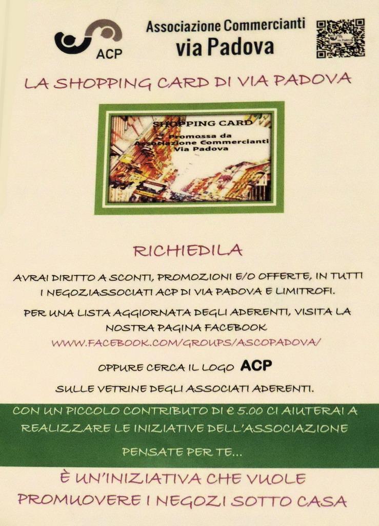 Shopping Card Via Padova del Supermercato della Carta Milano